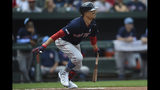Boston Red Sox's Mookie Betts singles against the Baltimore Orioles in the first inning of a baseball game Sunday, June 16, 2019, in Baltimore. (AP Photo/Gail Burton)