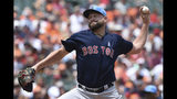 Boston Red Sox's Brian Johnson throws against the Baltimore Orioles in the first inning of a baseball game Sunday, June 16, 2019, in Baltimore. (AP Photo/Gail Burton)