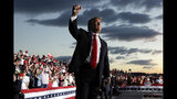 FILE - In this May 20, 2019 file photo, President Donald Trump gestures to the crowd as he finishes speaking at a campaign rally in Montoursville, Pa. Trump will be launching his re-election bid this week in Florida. (AP Photo/Evan Vucci)