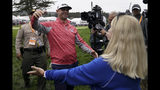 Gary Woodland celebrates after winning the U.S. Open Championship golf tournament with his mother Linda, Sunday, June 16, 2019, in Pebble Beach, Calif. (AP Photo/Carolyn Kaster)