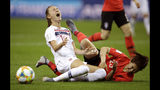 Norway's Caroline Graham Hansen, left, reacts as she is fouled in the penalty box by South Korea's Kang Chae-rim during the Women's World Cup Group A soccer match between Norway and South Korea at the Stade Auguste-Delaune in Reims, France, Monday, June 17, 2019. (AP Photo/Alessandra Tarantino)
