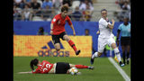 Norway's Isabell Herlovsen, right, kicks the ball clear of South Korea's Moon Mi-ra, and Kang Chae-rim, bottom, during the Women's World Cup Group A soccer match between Norway and South Korea at the Stade Auguste-Delaune in Reims, France, Monday, June 17, 2019. (AP Photo/Alessandra Tarantino)