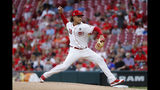 Cincinnati Reds starting pitcher Luis Castillo throws in the first inning of a baseball game against the Houston Astros, Monday, June 17, 2019, in Cincinnati. (AP Photo/John Minchillo)