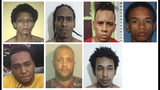 This combination of photos provided by the Dominican Republic National Police on Wednesday, June 12, 2019 show suspects in connection with the shooting of former Red Sox star David Ortiz in Santo Domingo, Dominican Republic. Police identify the men as, top row from left, Rolfy Ferreyra, who has been identified as the shooter, Joel Rodriguez Cruz, Oliver Moises Mirabal Acosta, and Eddy Vladimir Feliz Garcia. Bottom row from left, Polfirio Allende Dechamps Vazquez, Luis Alfredo Rivas Clase and Reynaldo Rodriguez Valenzuela. All the men with the exception of Rivas Clase have been detained. (Dominican Republic National Police via AP)