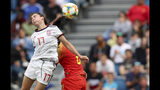 Spain's Lucia Garcia goes up for a header during the Women's World Cup Group B soccer match between China and Spain at the Stade Oceane in Le Havre, France, Monday, June 17, 2019. (AP Photo/Francisco Seco)