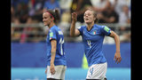 Italy's Aurora Galli, right, celebrates after scoring her side's fifth goal during the Women's World Cup Group C soccer match between Italy and Jamaica at the Stade Auguste-Delaune in Reims, France, Friday, June 14, 2019. (AP Photo/Francisco Seco)