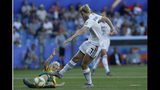 Germany's Lea Schueller, right, attempts a shot at goal in front of South Africa's Janine Van Wyk during the Women's World Cup Group B soccer match between South Africa and Germany at the Stade de la Mosson in Montpellier, France, Monday, June 17, 2019. (AP Photo/Claude Paris)