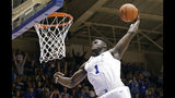 FILE - In this Jan. 5, 2019, file photo, Duke's Zion Williamson (1) dunks during the second half of an NCAA college basketball game against Clemson, in Durham, N.C. The Blue Devils freshman is widely expected to be the No. 1 overall pick in the NBA draft on Thursday, June 20. (AP Photo/Gerry Broome, File)