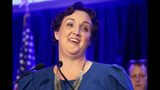 FILE - In this Nov. 6, 2018 file photo, Democratic congressional candidate Katie Porter speaks during an election night event in Tustin, Calif. Porter says she supports an impeachment investigation of President Donald Trump, adding another Democratic lawmaker to those clamoring for the move. (AP Photo/Chris Carlson, File)
