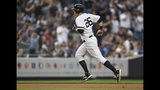 New York Yankees' DJ LeMahieu (26) runs to third base after hitting a two-run home run during the third inning of a baseball game against the Tampa Bay Rays, Monday, June 17, 2019, in New York. (AP Photo/Sarah Stier)