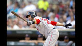 Boson Red Sox's J.D. Martinez watches his RBI-single against the Minnesota Twins in the first inning of a baseball game Monday, June 17, 2019, in Minneapolis. (AP Photo/Andy Clayton- King)