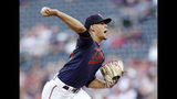 Minnesota Twins pitcher Jose Berrios throws to the Boson Red Sox in the first inning of a baseball game Monday, June 17, 2019 in Minneapolis. (AP Photo/Andy Clayton- King)