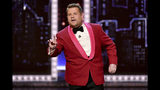 File- This June 9, 2019, file photo shows host James Corden speaking at the 73rd annual Tony Awards at Radio City Music Hall in New York. Corden's show is in London for broadcasts airing Monday to Thursday, June 17 to 20, with guests including former first lady Michelle Obama and Chris Hemsworth.(Photo by Charles Sykes/Invision/AP, File)