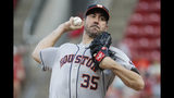 Houston Astros starting pitcher Justin Verlander throws during the first inning of the team's baseball game against the Cincinnati Reds, Tuesday, June 18, 2019, in Cincinnati. (AP Photo/John Minchillo)