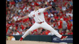 Cincinnati Reds starting pitcher Anthony DeSclafani throws during the first inning of the team's baseball game against the Houston Astros, Tuesday, June 18, 2019, in Cincinnati. (AP Photo/John Minchillo)