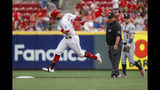 Cincinnati Reds' Jesse Winker runs the bases after hitting a solo home run off Houston Astros starting pitcher Justin Verlander during the first inning of a baseball game Tuesday, June 18, 2019, in Cincinnati. (AP Photo/John Minchillo)