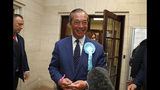 """FILE - In this Sunday, May 26, 2019 file photo, Brexit Party leader Nigel Farage speaks to the media in Southampton, England. A 32-year-old man has been sentenced to community service for dousing pro-Brexit politician Nigel Farage with a milkshake. Paul Crowther pleaded guilty Tuesday, June 18 to common assault and criminal damage. District Judge Bernard Begley called the stunt an """"act of crass stupidity motivated by your political views"""" and ordered Crowther to do 150 hours of volunteer work and pay Farage 350 pounds ($438) in damages. (AP Photo/Alastair Grant, file)"""