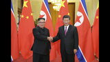 FILE - In this June 19, 2018, file photo released by China's Xinhua News Agency, Chinese President Xi Jinping, right, poses with North Korean leader Kim Jong Un for a photo during a welcome ceremony at the Great Hall of the People in Beijing. Chinese state media say President Xi Jinping will make a state visit to North Korea this week. State broadcaster CCTV said in its evening news program on Monday that Xi will meet with North Korean leader Kim Jong Un during a visit Thursday and Friday. (Ju Peng/Xinhua via AP, File)