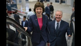 Republican Sen. Susan Collins of Maine, joined by Sen. Tim Kaine, D-Va., right, arrives at the Capitol to extend her perfect Senate voting record to 7,000, as she prepares for a 2020 campaign , in Washington, Tuesday, June 18, 2019. (AP Photo/J. Scott Applewhite)