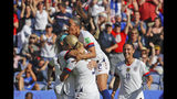 US players celebrate after teammate Julie Ertz scored their side's second goal during the Women's World Cup Group F soccer match between United States and Chile at Parc des Princes in Paris, France, Sunday, June 16, 2019. (AP Photo/Alessandra Tarantino)