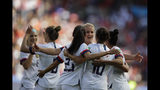 US players celebrate after teammate Carli Lloyd scored their side's third goal during the Women's World Cup Group F soccer match between United States and Chile at Parc des Princes in Paris, France, Sunday, June 16, 2019. (AP Photo/Alessandra Tarantino)