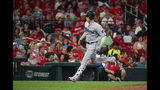 Miami Marlins' Brian Anderson heads for home run after hitting a home run during the seventh inning of a baseball game against the St. Louis Cardinals, Tuesday, June 18, 2019, in St. Louis. (AP Photo/L.G. Patterson)