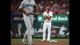 St. Louis Cardinals starting pitcher Jack Flaherty celebrates as he stands on second base after hitting a double during the third inning of the team's baseball game against the Miami Marlins, Tuesday, June 18, 2019, in St. Louis. (AP Photo/L.G. Patterson)