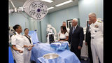 Vice President Mike Pence and his wife Karen tour a surgery room on the USNS Comfort, Tuesday, June 18, 2019, in Miami. The hospital ship is scheduled to embark on a five-month medical assistance mission to Latin America and the Caribbean, including several countries struggling to absorb migrants from crisis-wracked Venezuela. At right is Adm. Craig Faller, commander of U.S. Southern Command. (AP Photo/Lynne Sladky)