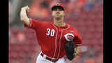 Cincinnati Reds' Tyler Mahle throws in the first inning of a baseball game against the Houston Astros, Wednesday, June 19, 2019, in Cincinnati. (AP Photo/Aaron Doster)