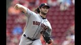 Houston Astros' Gerrit Cole throws in the first inning of a baseball game against the Cincinnati Reds, Wednesday, June 19, 2019, in Cincinnati. (AP Photo/Aaron Doster)