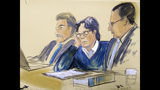 "In this courtroom artist's sketch, defendant Keith Raniere, center, sits with attorneys Paul DerOhannesian, left, and Marc Agnifilo during closing arguments at Brooklyn federal court, Tuesday, June 18, 2019 in New York. A federal prosecutor said Raniere used his NXIVM organization to ""tap into a never-ending flow of women and money."" Attorneys for the defendant say he had no criminal intent and that his sexual encounters with followers were consensual. (Elizabeth Williams via AP)"