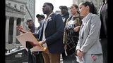 """Queens District Attorney candidate Tiffany Caban, far right, and New York Public Advocate Jumaane Williams, third from left, join a coalition of civil rights activists at a press conference, calling for an investigation of former Assistant District Attorney Linda Fairstein, Tuesday June 11, 2019, in New York. The group is """"demanding"""" that Manhattan District Attorney Cyrus Vance appoint an independent investigation to review Fairstein's roll in the rape conviction of the """"Central Five,"""" who were all exonerated by DNA evidence-- supporting their claim of false conviction. (AP Photo/Bebeto Matthews)"""