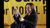 In this June 17, 2019, photo, Democratic presidential candidate Sen. Kamala Harris, D-Calif., speaks at the Poor People's Moral Action Congress presidential forum in Washington. Harris is stepping up her outreach to the black community as she campaigns for the Democratic presidential nomination. (AP Photo/Susan Walsh)
