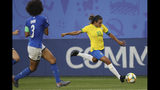 Brazil's Marta, right, in action during the Women's World Cup Group C soccer match between Italy and Brazil at the Stade du Hainaut in Valenciennes, France, Tuesday, June 18, 2019. (AP Photo/Francisco Seco)