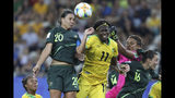 Australia's Sam Kerr, top left, jumps for the ball with Jamaica's Khadija Shaw, center, during the Women's World Cup Group C soccer match between Jamaica and Australia at Stade des Alpes stadium in Grenoble, France, Tuesday, June 18, 2019. (AP Photo/Laurent Cipriani)