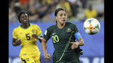 Australia's Sam Kerr eyes the ball during the Women's World Cup Group C soccer match between Jamaica and Australia at Stade des Alpes stadium in Grenoble, France, Tuesday, June 18, 2019. (AP Photo/Laurent Cipriani)