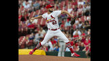 St. Louis Cardinals starting pitcher Daniel Ponce de Leon delivers during the first inning of a baseball game against the Miami Marlins, Wednesday, June 19, 2019, in St. Louis. (AP Photo/L.G. Patterson)