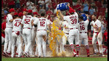 St. Louis Cardinals celebrate Paul Goldschmidt's game-winning home run in a baseball game against the Miami Marlins, Wednesday, June 19, 2019, in St. Louis. The Cardinals won 2-1 in 11 innings. (AP Photo/L.G. Patterson)