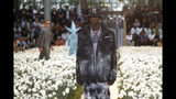 A model wears a creation for the Off White mens Spring-Summer 2020 fashion collection presented in Paris, Wednesday, June 19. (AP Photo/Thibault Camus)