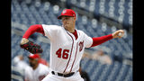 Washington Nationals starting pitcher Patrick Corbin throws to the Philadelphia Phillies in the second inning of the first baseball game of a doubleheader, Wednesday, June 19, 2019, in Washington. (AP Photo/Patrick Semansky)