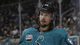 FILE - In this Oct. 3, 2018, file photo, San Jose Sharks defenseman Erik Karlsson, from Sweden, watches during a break in the second period of an NHL hockey game against the Anaheim Ducks in San Jose, Calif. Karlsson has undergone groin surgery before being eligible to become a free agent this summer, the Sharks said Wednesday, June 5, 2019. (AP Photo/Jeff Chiu, File)