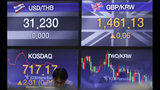 A currency trader works near the screens showing the foreign exchange rates at the foreign exchange dealing room in Seoul, South Korea, Wednesday, June 19, 2019. Asian shares were mostly higher Wednesday on optimism about trade after President Donald Trump said he will talk with the Chinese leader later this month in Japan.(AP Photo/Lee Jin-man)