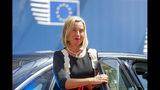 European Union foreign policy chief Federica Mogherini arrives for an EU summit at the Europa building in Brussels, Thursday, June 20, 2019. European Union leaders meet in Brussels for a two-day summit to begin the process of finalizing candidates for the bloc's top jobs. (Julien Warnand, Pool Photo via AP)