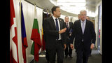 European Union chief Brexit negotiator Michel Barnier, right, speaks with Irish Prime Minister Leo Varadkar prior to a meeting on the sidelines of an EU summit in Brussels, Thursday, June 20, 2019. European Union leaders meet in Brussels for a two-day summit to begin the process of finalizing candidates for the bloc's top jobs. (AP Photo/Olivier Matthys, Pool)