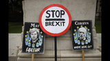 Anti-Brexit remain supporters' placards stand leaning opposite the Houses of Parliament in London, Wednesday, June 19, 2019. Britain's Conservative Party are set to kick one more candidate out of the contest to become the country's next prime minister, as rivals scramble to catch front-runner Boris Johnson. The five-strong field will be narrowed in elimination votes by Tory lawmakers Wednesday and Thursday, with the two top candidates going to a runoff of party members across the country. (AP Photo/Matt Dunham)