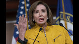 In this June 13, 2019 file photo, Speaker of the House Nancy Pelosi, D-Calif., speaks during a news conference on Capitol Hill in Washington. While Speaker Pelosi says Congress shouldn't impeach for political reasons or not impeach for political reasons, political considerations overhang the decision making. (AP Photo/J. Scott Applewhite)