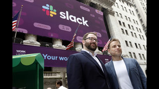 The Latest: Slack up 49% in value after 1st trading day