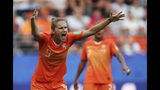 Netherlands' Vivianne Miedema reacts to a call during the Women's World Cup Group E soccer match between the Netherlands and Canada at Stade Auguste-Delaune in Reims, France, Thursday, June 20, 2019. (AP Photo/Francisco Seco)