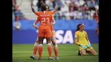 Netherlands' Lineth Beerensteyn celebrates with teammates after scoring her side's second goal during the Women's World Cup Group E soccer match between the Netherlands and Canada at Stade Auguste-Delaune in Reims, France, Thursday, June 20, 2019. (AP Photo/Francisco Seco)