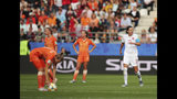 Canada's Christine Sinclair, right, reacts after scoring her side's first goal during the Women's World Cup Group E soccer match between the Netherlands and Canada at Stade Auguste-Delaune in Reims, France, Thursday, June 20, 2019. (AP Photo/Francisco Seco)